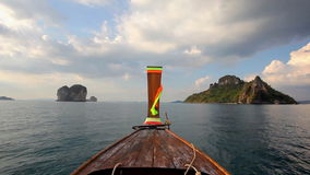 Long tail boat in Thailand stock video footage