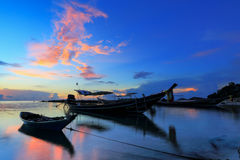 Long tail boat in Thailand. Long tail boat with colourful background Stock Photo