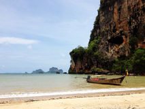 Long tail boat on Tonsai Bay, Thailand Royalty Free Stock Image