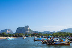 Long tail boat for tourist at Krabi Royalty Free Stock Image