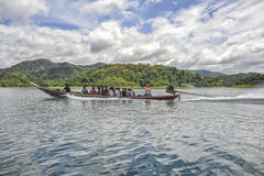 Long tail boat with tourists at Khao Sok National Park, Thailand Royalty Free Stock Photography