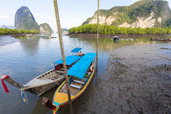 Long tail boat for travel island in phang nga thailand. Stock Photo