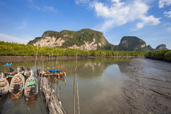 Long tail boat for travel island in phang nga thailand. Royalty Free Stock Photography