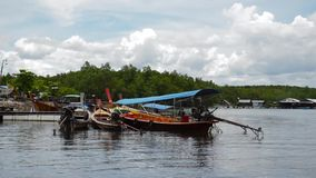 Long tail boat for travel in river , Phang Nga , Thailand. Background stock video footage