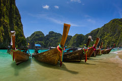 Long-tail boat travel. Long tail boat is a Thai traditional boat, made form wood Stock Photo