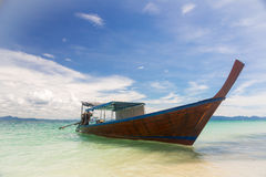Long Tail Boat Tropical Beach Stock Image