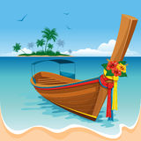 Long tail boat. On the tropical beach stock illustration