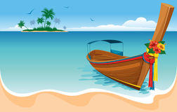 Long tail boat. On the tropical beach vector illustration