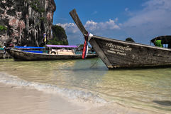 Long tail boat on tropical beach, Krabi, Thailand Royalty Free Stock Photos