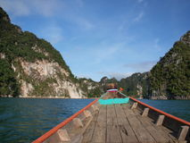 The long tail boat on the way to Khao Sok National Park,Thailand Stock Photography