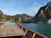 The long tail boat on the way to Khao Sok National Park,Thailand Royalty Free Stock Photos