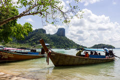 Long tail boatin the Phi Phi islands thailand Royalty Free Stock Images