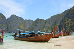 Long-tail boats 1. Long-tail boats in the Andaman Sea, Thailand Royalty Free Stock Photos