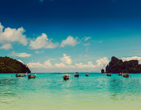 Long tail boats in bay. Thailand Stock Photo