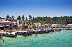 Long Tail Boats on Beach at Phi Phi Leh island, Krabi, Thailand Stock Photography