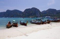 Long Tail Boats on Beach at Phi Phi Leh island Stock Photos