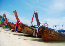 Long-tail boats on the beach in Phuket, Thailand Stock Photography