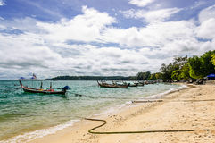 Long-tail boats & beach, Phuket, Thailand royalty free stock images
