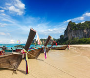 Long tail boats on beach, Thailand Royalty Free Stock Photography