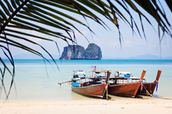 Long Tail boats on the beach Stock Images