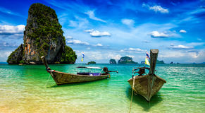 Long tail boats on beach, Thailand Royalty Free Stock Photo
