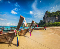 Long tail boats on beach, Thailand Stock Image