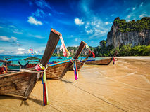 Long tail boats on beach, Thailand Stock Images