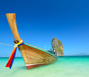 Long tail boats at the beautiful beach landscape in Thailand. Long tail boats at the beautiful beach Stock Photography