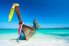 Long tail boats at the beautiful beach landscape in Thailand Royalty Free Stock Photos