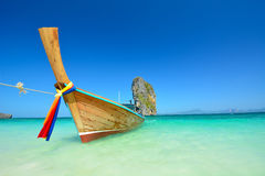 Long tail boats at the beautiful beach landscape in Thailand Stock Image