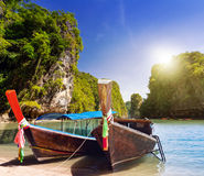 Long tail boats on the coast of Andaman sea Royalty Free Stock Photos