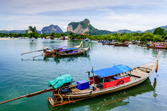 Long-tail boats, Hat Noppharat Thara, Krabi Province, Thailand Royalty Free Stock Photos