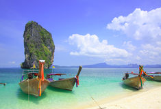 Long tail boats @ koh Poda Stock Photo