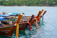 Long tail boats lined along the beach in Koh Lipe island in Thailand Royalty Free Stock Photography