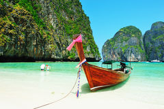 Long-tail boats at Maya bay of Phi-Phi island Stock Image