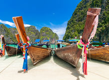 Long tail boats at Maya bay, Phi Phi Leh island Stock Photo