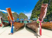 Long tail boats at Maya bay, Phi Phi Leh island Stock Photo