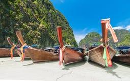 Long tail boats at Maya bay, Phi Phi Leh island Royalty Free Stock Image