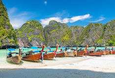 Long tail boats at Maya bay Phi Phi Leh island Royalty Free Stock Images