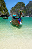 Long-tail boats in Maya Bay, Thailand Stock Photo