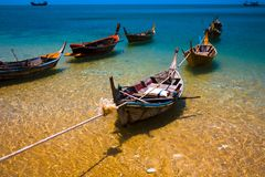 Long Tail Boats On Crystal Clear Sea Royalty Free Stock Photo