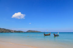 Long tail boats at Patong beach, beautiful andaman sea beach at Phuket Stock Image
