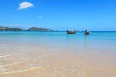 Long tail boats at Patong beach, Phukhet Stock Photography