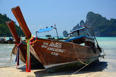 Long-tail boats. Phi Phi islands. Krabi. Thailand Royalty Free Stock Photography