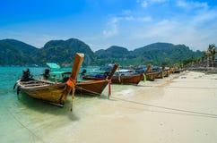 Long Tail Boats at Phi Phi Leh island Royalty Free Stock Photo