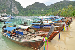Long tail boats on Phi Phi pier Royalty Free Stock Photo