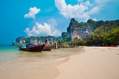 Long tail boats at Railay Bay, Thailand Stock Photography