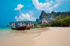 Long tail boats at Railay Bay, Thailand Stock Photography