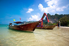 Long tail boats at Railay Bay, Thailand Royalty Free Stock Image
