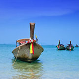Long tail boats at Railay Bay, Thailand Stock Photo